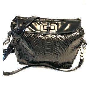 Handbags - Crossbody black patent snake skin style bag.
